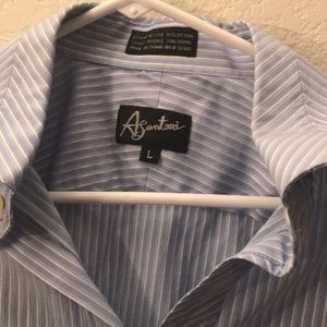 A. Santoni men's size large blue and white striped
